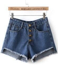 Blue Buttons Fringe Denim Shorts