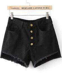 Black Buttons Fringe Denim Shorts