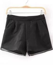 Black Jacquard Organza Shorts