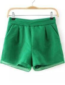 Green Jacquard Organza Shorts