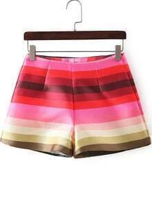 Red Fashion Striped Loose Shorts