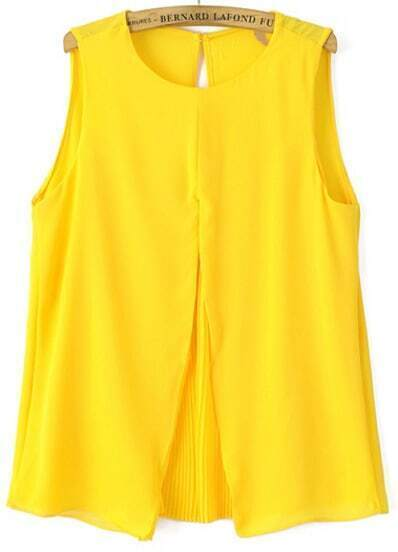Yellow Round Neck Pleated Loose Tank Top