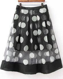 Black Sheer Mesh Polka Dot Skirt
