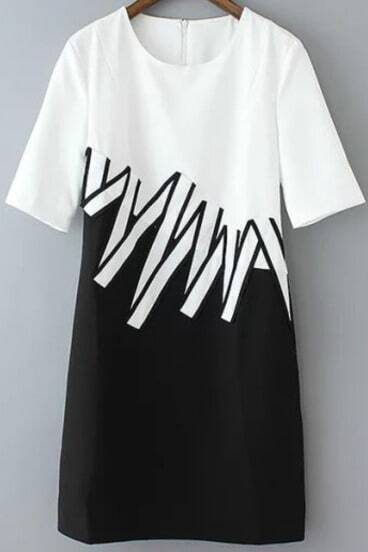 Colour-block Short Sleeve Stickers Embellished Dress