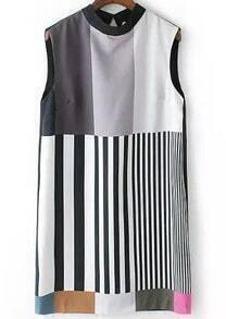 Black Sleeveless Vertical Stripe Slim Dress