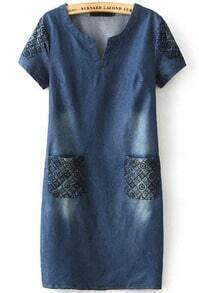 Navy Short Sleeve Bleached Embroidered Denim Dress