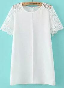 White Lace Short Sleeve Loose Dress