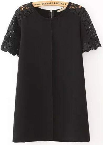 Black Lace Short Sleeve Loose Dress