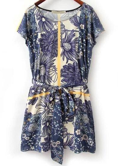 Blue Short Sleeve Floral Tie-waist Dress