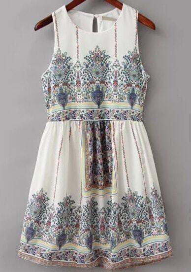 White Sleeveless Vintage Floral Dress