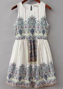 White Sleeveless Vintage Floral Dress