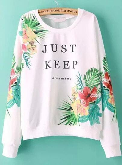 White Round Neck Floral JUST KEEP Print Sweatshirt