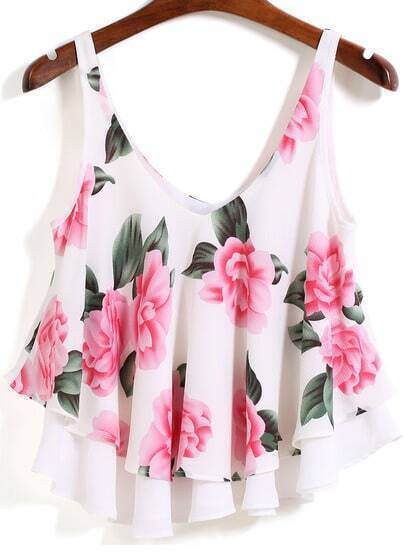 White Strap Floral Loose Cami Top