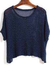 Blue Round Neck Sheer Loose Knitwear