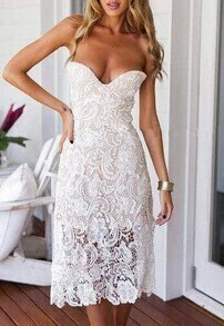 White Shutter Lacy Strapless Collarless With Zipper Hollow Lace Dress