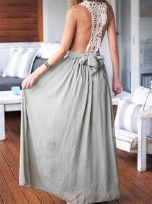 Grey Deep V Neck Contrast Lace Maxi Dress