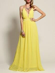 Yellow Spaghetti Strap V Neck Maxi Dress