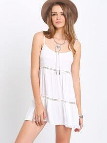 White Spaghetti Strap Hollow Shift Dress