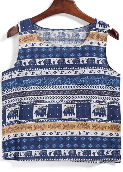 Blue Round Neck Elephant Print Tank Top