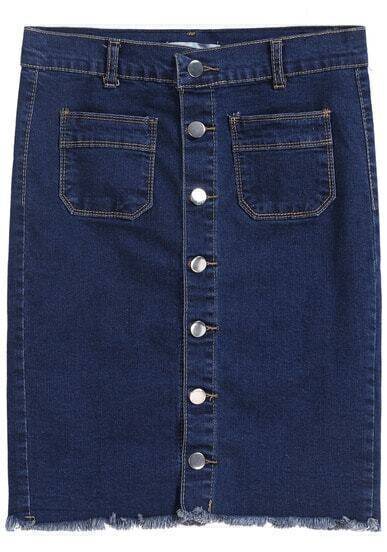 Navy Buttons Pockets Denim Skirt