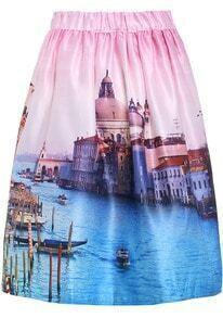 Pink Blue Marine Construction Print Skirt
