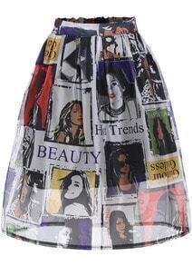 Multicolor Monroe Print Mesh Flare Skirt