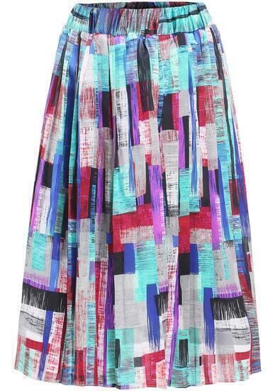 Multicolor Elastic Waist Pleated Skirt