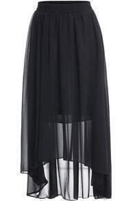 Black Elastic Waist Asymmetrical Chiffon Skirt