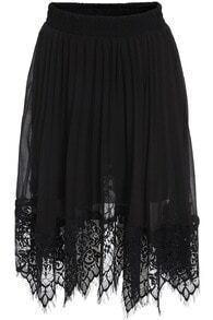 Black Elastic Waist Pleated Lace Skirt