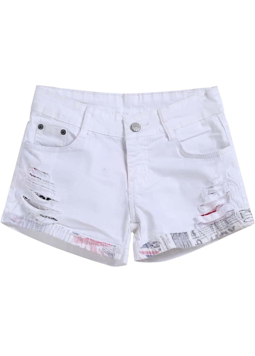 White Ripped Pockets Denim Shorts