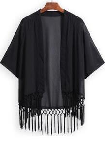 Black Half Sleeve Tassel Loose Kimono