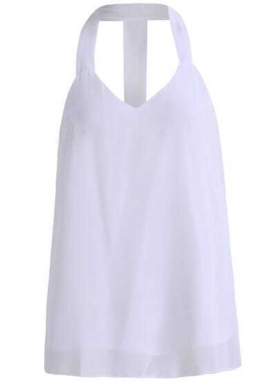 White Halter Backless Chiffon Tank Top