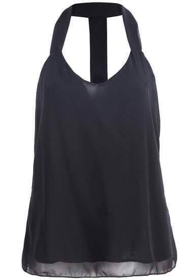 Black Halter Backless Chiffon Tank Top