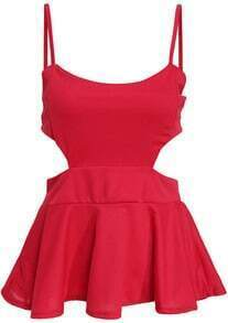 Red Spaghetti Strap Hollow Ruffle Cami Top