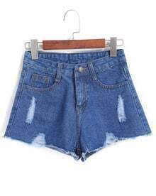 Navy Pockets Ripped Denim Shorts