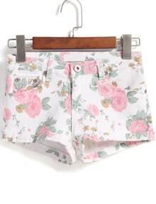White Pockets Floral Denim Shorts