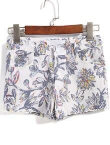 Multicolor Pockets Floral Straight Shorts