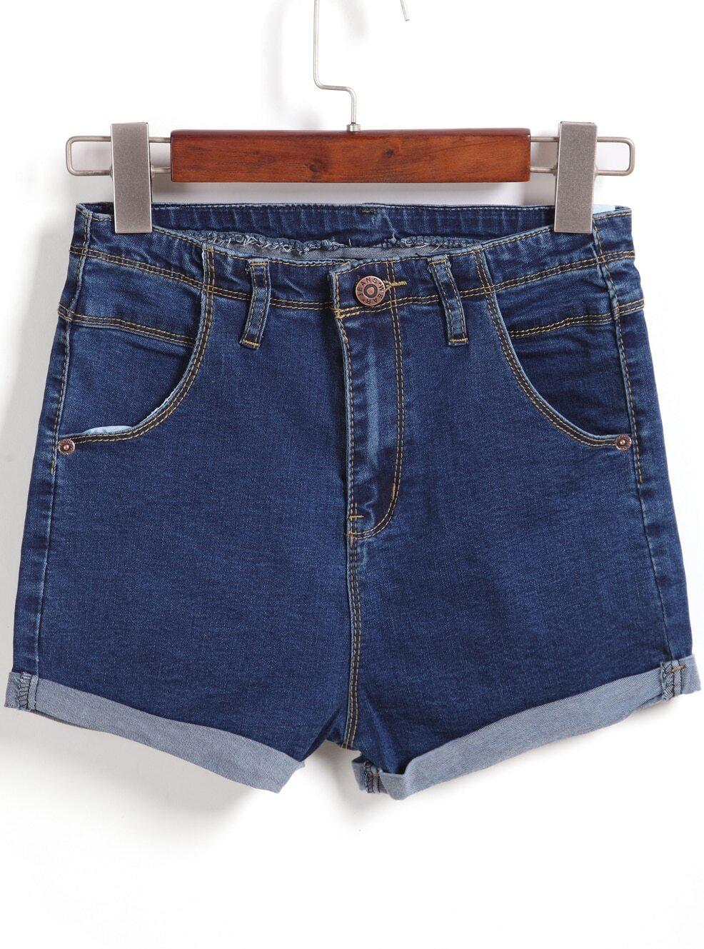 Navy Pockets Flange Denim Shorts