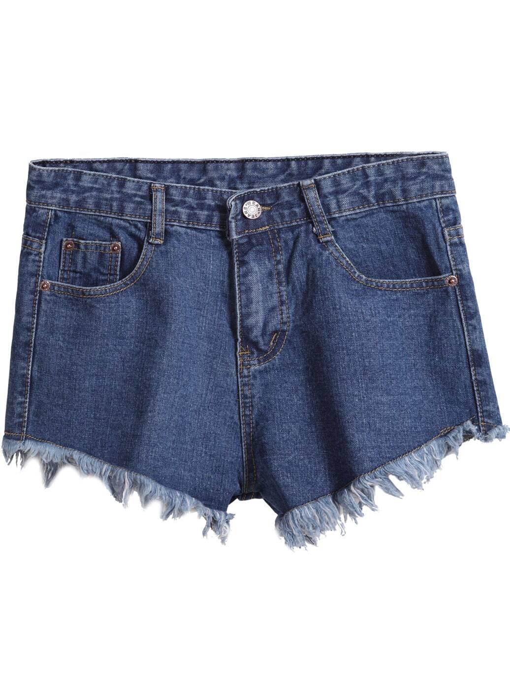 Navy Pockets Fringe Denim Shorts