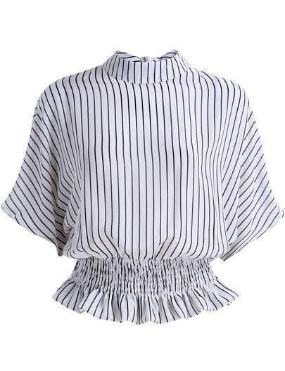 Black White Stand Collar Vertical Stripe Blouse