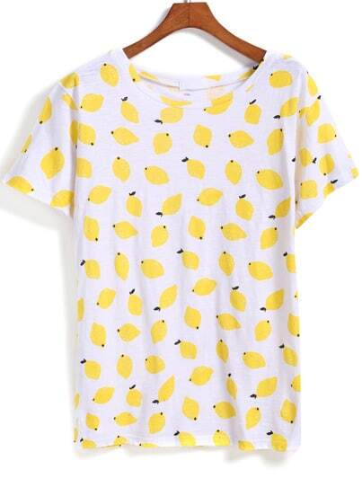 Yellow Short Sleeve Lemon Print T-Shirt