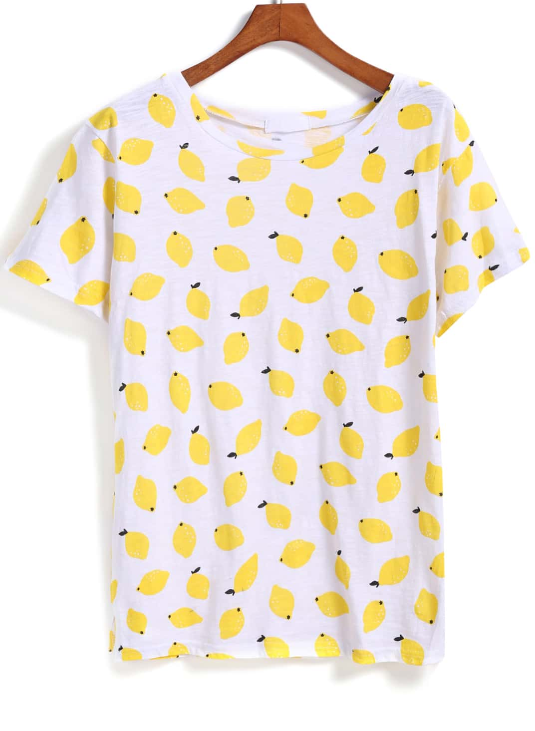 Yellow short sleeve lemon print t shirt shein sheinside for Printed short sleeve shirts