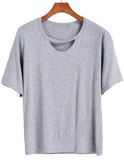 Grey Short Sleeve Hollow Loose T-Shirt