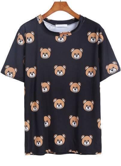 Black Short Sleeve Bear Print T-Shirt
