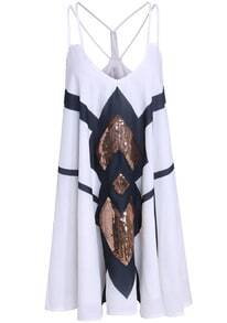 White Spaghetti Strap Sequined Loose Dress