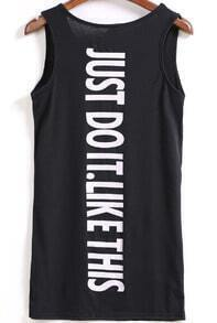 Black Sleeveless Letters Print Tank Dress