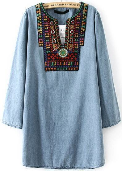 Blue V Neck Tribal Embroidered Loose Dress