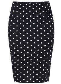 Black Polka Dot Bodycon Skirt