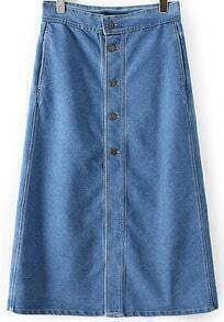 Blue Buttons Denim Skirt