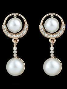 White Pearl Gold Dangle Earrings